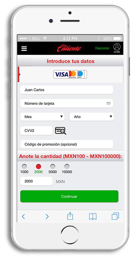 6f1fdee068f82 Verás una lista de los métodos de pago aceptados en Caliente. Elige un  método para depositar  tarjeta de crédito